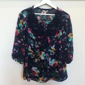 ARIZONA JEAN CO Multicolor Sheer Floral Blouse XL